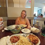 My lovely wife and my Tour of Italy!  Tasty as always!  Thanks again Olive Garden in Abilene!