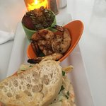 The BEST! Appetizer trio. Lobster mac and cheese, grilled shrimp, and caprese salad.