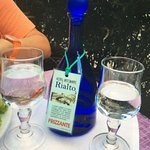 Frizzante -: Water with gas, as the Italians call it served in a glass decanter !!! Nicely prese