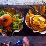 The Veggie Burger and 'Crit Cakes' (vegan pancakes)