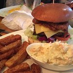 Burger and chips at the Spotted Cow Elwick