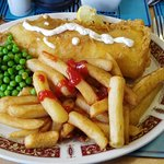 Nicely cooked fish & chips.