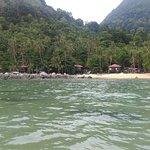 Blick auf das Resort vom Wasser aus