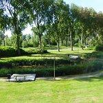 Hotel garden and pond