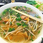 Beef Pho soup, comes with fresh basil & bamboo shoots