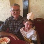Grandad and Shay with his Tandoori hat on!