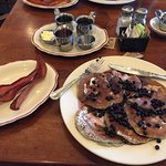 Pancakes, pancakes, pancakes.  Avoid the shriveled blueberry pancakes.