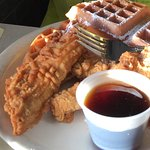 Best Chicken & Waffles!   Stuffed French Toast with vanilla cream cheese and strawberries!