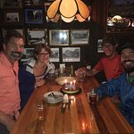 Appalachian trail hikers and their fans enjoying a great prime rib dinner at the rustic and home
