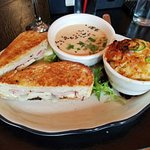 Vancouver - brie, ham, green apple and fig compote on rosemary bread with a side of soup