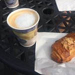 cafe au lait and the most perfect pastry...