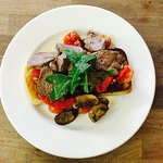 Delicious open fillet steak sandwich with mushrooms and tomato, I highly recommend giving this a