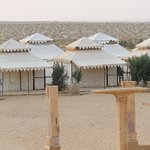 An overview of the tents and the dunes