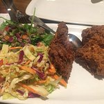 Fried chicken with slaw and lentil salad