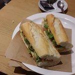 Salmon and avocado baguette