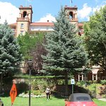 My sister in front of the historic Hotel Colorado