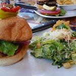 Mahi Mahi sandwich and lemon ceasar salad