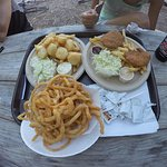 Onion rings, Chicken fingers tender and Fried Scallops plate