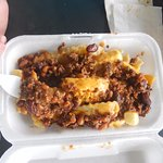 home made chili on fries