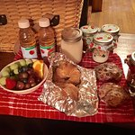 breakfast delivered to your cabin in the morning in a little picnic basket.
