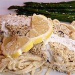 Baked halibut & asparagus