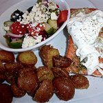 Greek=style baked salmon with Greek salad