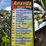 Ananda Home Stay sign