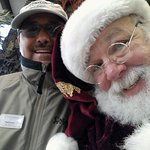 Santa with a warm and happy manager