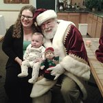 a newborn, Teddy..with mom and Santa..coat by Odell's pf Hollywood!