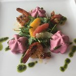 Mouth watering entree of Spicy Prawns and Beetroot Mousse