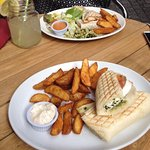 Goats cheese panini and potato wedges