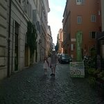 walk 10m past La Base to this side street & you can see the Colosseum at the end of the street.