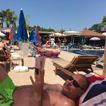 relaxing on one of the plenty sunbeds