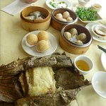 Dim Sum with sticky rice in grape leaf