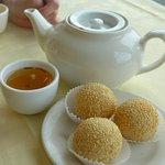 green tea & dessert (sesame balls)