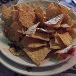 Volcano nachos - after ($15 for two bags of chips with no toppings!)