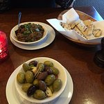 starters aubergine and olives