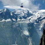 Téléphérique pour monter face au Mont Blanc
