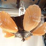 1930's slip shade chandelier