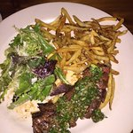 Hangar steak with steak frites and mixed green salad. Mouthwatering.