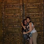 A picture with my sister in front of one of the beautiful doors you can find in the lobby