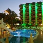 Hotel Pool at night.