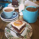 Tea and a peanut butter chocolate cake from one of my visits to Cake Stories