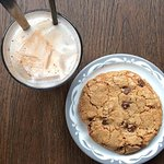 Horchata and a chocolate chip walnut cookie
