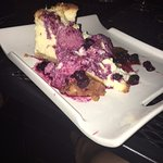 A Blueberry cheesecake brought to our table........