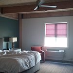 Our spacious room as we left in the morning (excuse the unmade bed!).