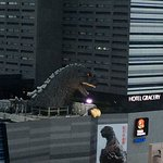 Godzilla on local hotel/cinema roof.