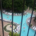 View of the gorgeous resort pool from my room