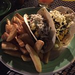 So delicious!  Grilled fish tacos & fries.