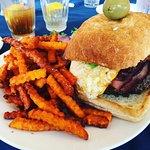 Grinder Burger w/sweet potato fries